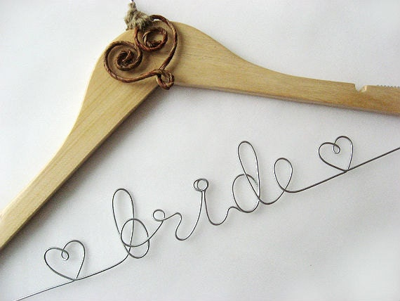 Personalized rustic bridal hanger wedding name hanger by for Personalised wedding dress hanger