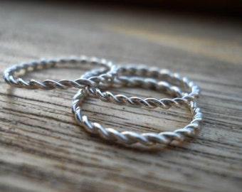 3 twisted rings Stacking rings Set of rings infinity rings rope rings