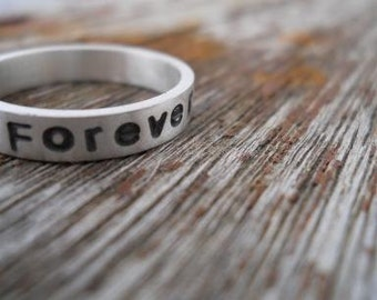 wedding band always and forever handstamped ring mens ring sterling silver wedding ring with words