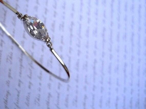 bracelet marquise stone bracelet bridal delicate bracelet bangle silver bangle wedding