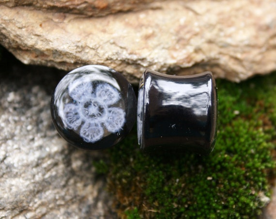 Acrylic Lace Plugs Gauges Black and White size 9/16 14mm PluggingAlong Seconds