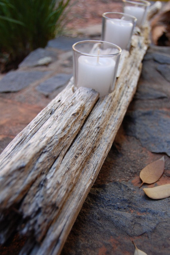 Driftwood white candle holder with votives by plantology on Etsy