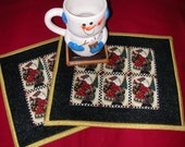 SANTA SNACK MAT- Mug Rug - Candle Mat - Set of 2 - Debbie Mumm Vintage Santa.  in red, gold and black - TessieTextile