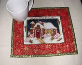 CHRISTMAS SNACK MAT -Mug Rug -- Candle Mat Deck The Halls  Approx. 9 x 11 inches