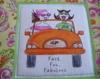 Quilted GIRLFRIENDS POTHOLDER - Fast, Fun, Fabulous in yellow and oranges