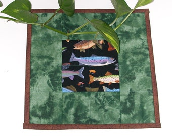 Quilted Mug Rug, Snack Mat, Candle Mat  EMERALD GREEN FISH