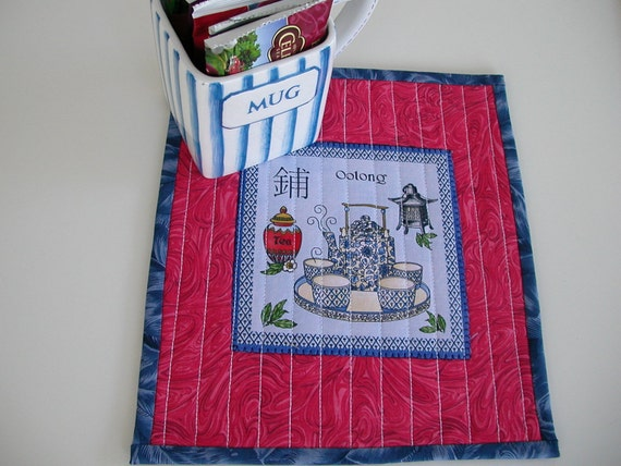 Quilted TEA-TIME MugRug - Approx 9 x 10 inches square