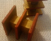Red Black Gold Miniature Modern End Tables - Dollhouse Size