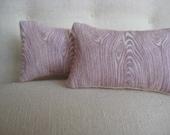 Lavender and Creme Faux Bois Pillow Pair - Dollhouse Size