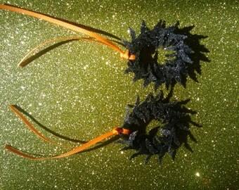 Sparkly Bat Wreaths Medium Bats - Dollhouse Size