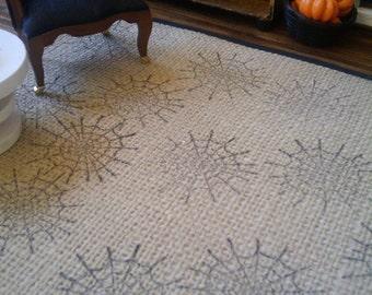 Black Spider Web Sisal Rug - Dollhouse Size -8 inch x 10 inch