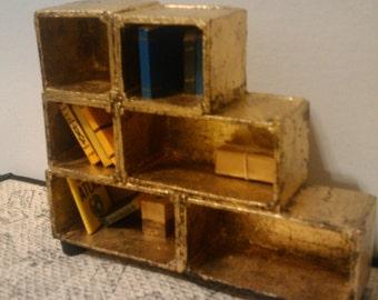 Destroyed Gilt Bookcase- - Miniature - Dollhouse Size