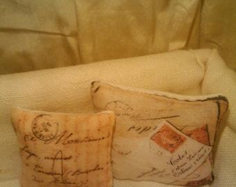 Two Miniature Dollhouse Pillows - Letter Design