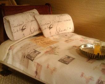 Vintage Ephemera Print - Twin Size Bedding - Dollhouse Size