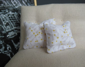 Yellow and Grey Pillow Pair - Dollhouse Size