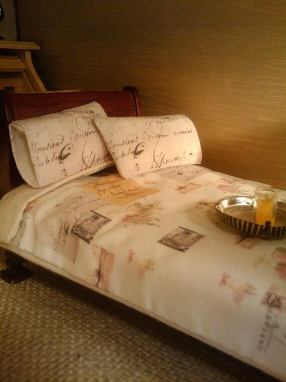 Vintage Ephemera Print Double Bed Size Bedding - Dollhouse Size