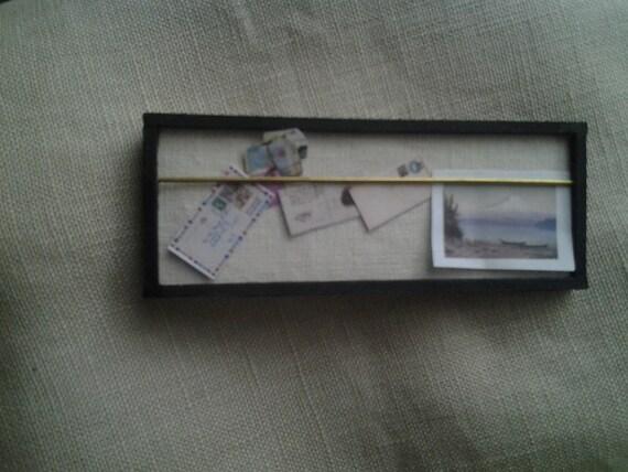 Black Framed Linen Pinboard - Dollhouse Size