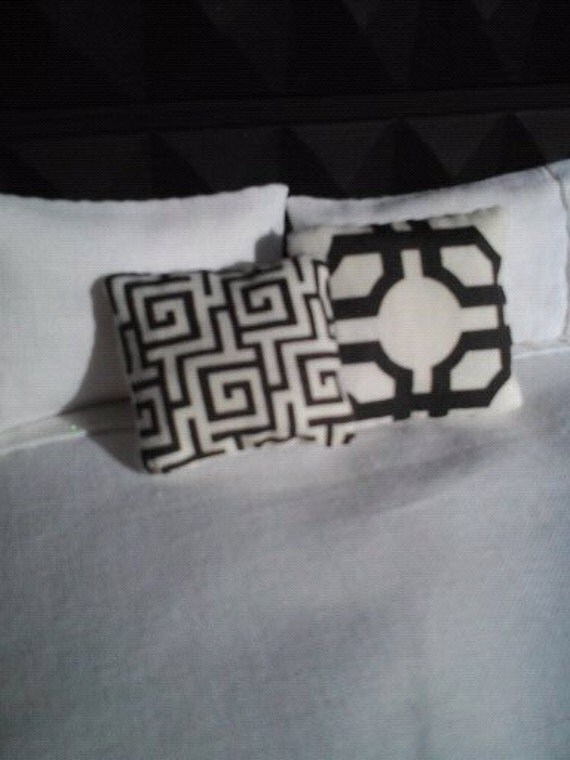 Black  and White Graphic Pillow Pair - Dollhouse Size