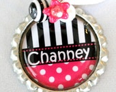PERSONALIZED PINK NECKLACE, cute personalized necklace, great christmas and birthday gifts, party favors, special (Listing 61)