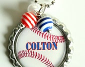 PERSONALIZED BASEBALL NECKLACE, sports fan, gift, birthday, party favor, basketball, soccer, softball, volleyball, tennis, (Listing 42)