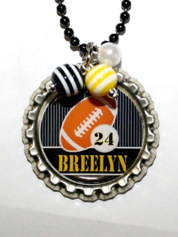 PERSONALIZED FOOTBALL NECKLACE, football fan gift, unique gift, gift for teams, sports gift, team spirit, birthday, party favors(Listing 40)