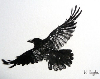 Crow original charcoal drawing, crow drawing, rook drawing, crow art, pencil drawing, gothic art, wildlife art, bird art, crow picture