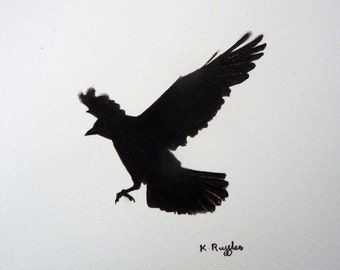 Jackdaw original charcoal sketch, crow drawing, pencil drawing, crow art, crow picture, gothic art, bird drawing, bird art, charcoal drawing