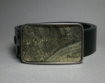 Belt Buckle Vintage Map Detroit Michigan Unique Gift