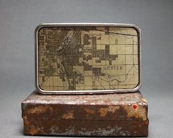 Belt Buckle Denver Colorado Vintage Map Unique Gift for Men or Women