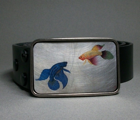 Siamese fighting fish belt buckle bettas by decembermoondesign for Fish fighting belt