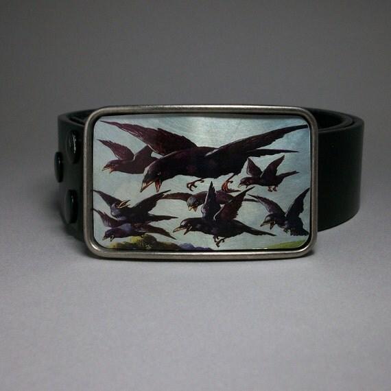 Deranged Black Birds Crows Ravens Belt Buckle