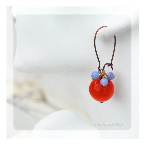 Orange and Baby Blue Earrings