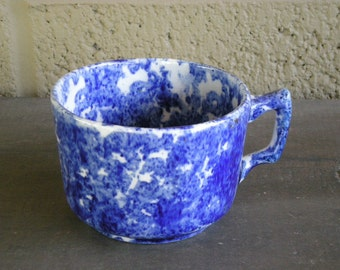 Antique Colbalt Blue Spongeware Cup