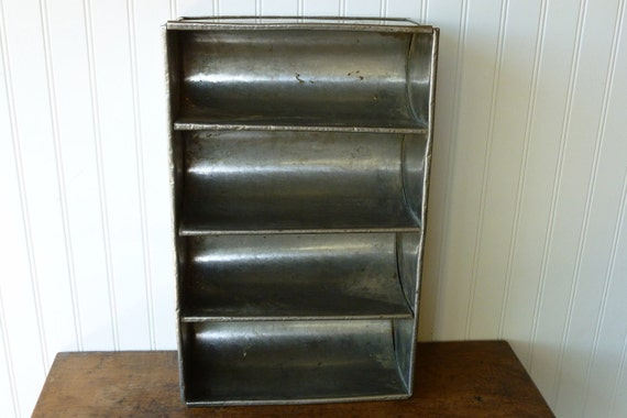 Vintage Industrial Metal Organizer - Divided Storage Box