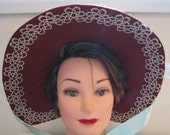 Regency bonnet in chestnut brown slub silk with turquoise satin ribbons