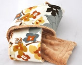 Canon dSLR Camera Strap Cover Autumn Natural Floral with Caramel Minky