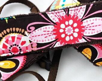 Digital Camera dSLR Strap - Carnival Bloom Brown Minky