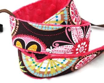 dSLR Camera Strap - Carnival Bloom w/ Watermelon Hot Pink Minky - Padded Camera Strap