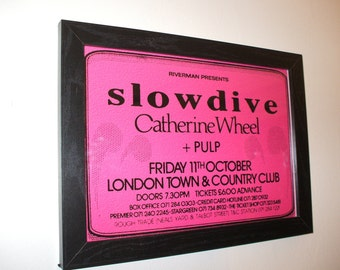 Slowdive Catherine Wheel Pulp Framed Gig Poster Print