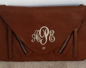 Brown Monogrammed Peyton Clutch Bag