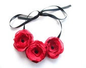 Fabric Poppy Statement Necklace in Ruby Garnet Red