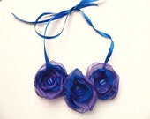 Royal Blue and Purple Three Flower Statement Necklace