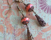 Coral Vintage Style Antiqued Brass Filigree Dangle Earring