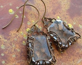 Clear Rectangle Vintage Glass Stone Antiqued Brass Filigree Earrings