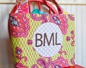 Personalized Children Kid Monogram Applique Tote Bag with Pockets