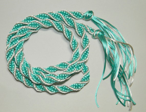 Thick Turquoise & Ivory Spiral Handfasting Cord - for wedding ceremonies