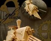 Dark Carnival Steampunk Loco-Motive Wooden Toy Engine (Sanded wood version)