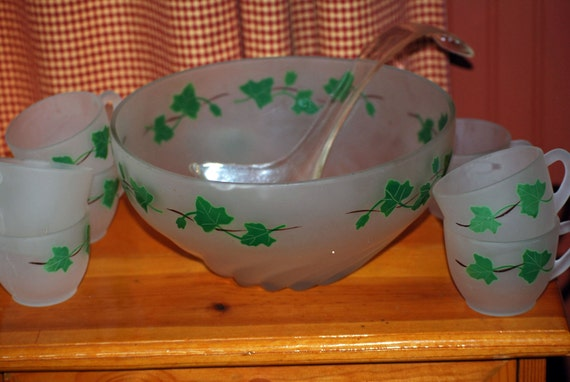 vintage frosted glass punch bowl set with by stapestreasuretrove. Black Bedroom Furniture Sets. Home Design Ideas