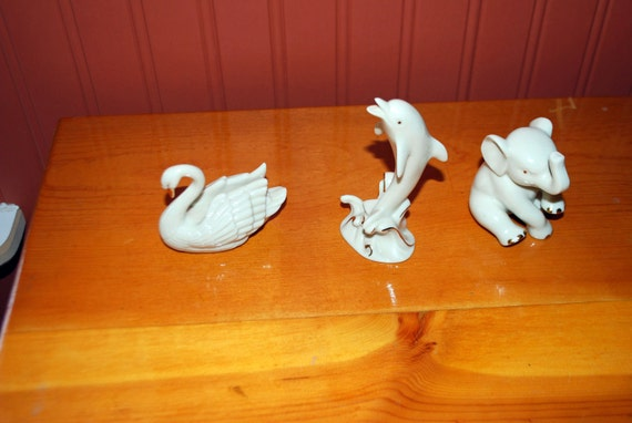 Reserved for Rebecca---Vintage Lenox animal figurines, Swan and Elephant