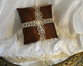 Satin Ring Bearer Wedding Pillow handmade of chocolate brown satin and embellished with vintage tatting and crochet.